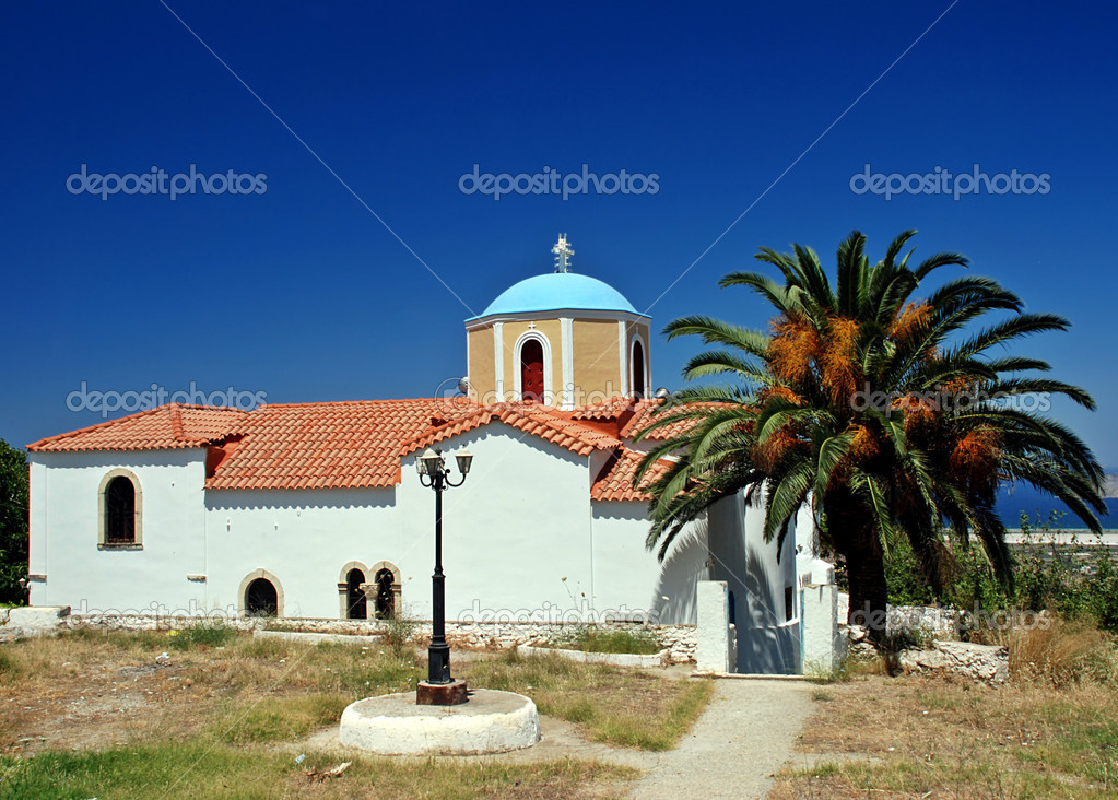 Greek orthodox church, lantern and palm  Stock Photo #6810166