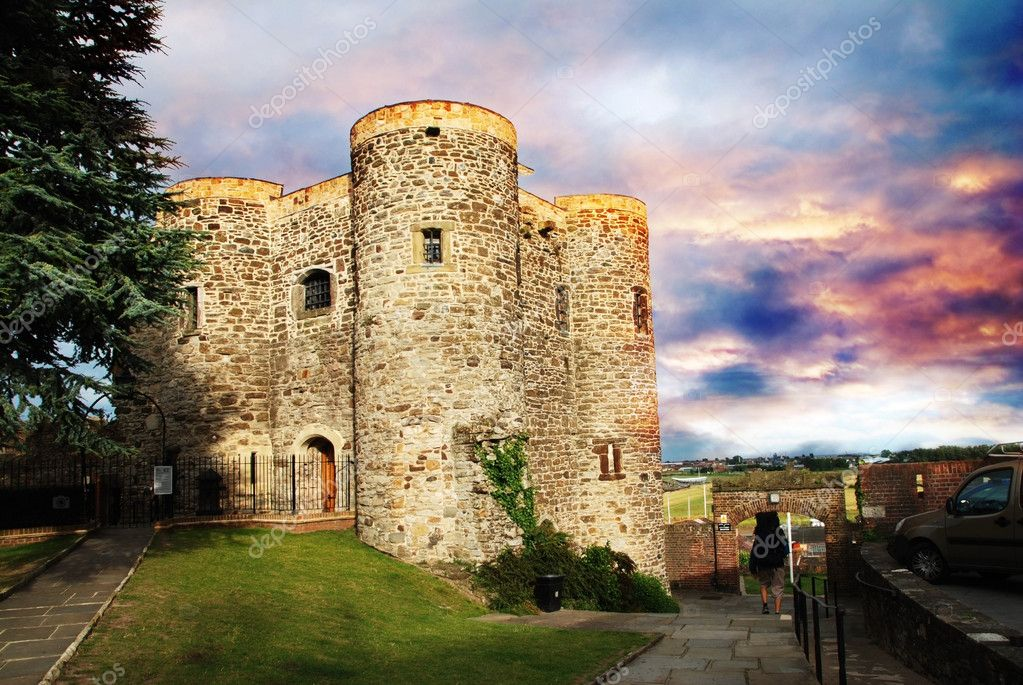 Ypres Tower belongs to the oldest buildings in the town of Rye, East Sussex - Great Britain. This photo pictures the structure at sunset.   Stock Photo #6810609
