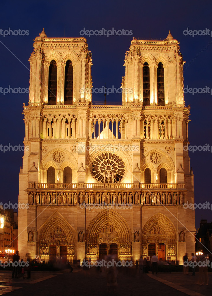 Famous French cathedral Notre Dame in Paris. Shot shortly after sunset. — Stock Photo #6810693
