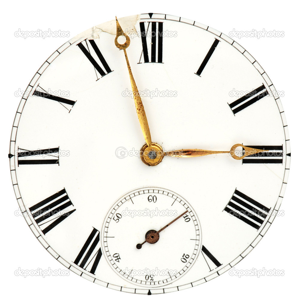 Face of the ancient clock with roman numbers and golden pointers isolated on white  Stock Photo #6810865