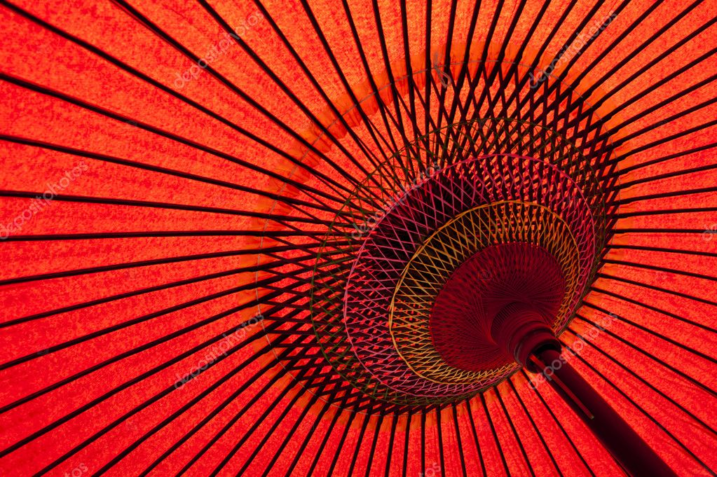 Detail of a traditional red japanese umbrella  — Stock Photo #6812154