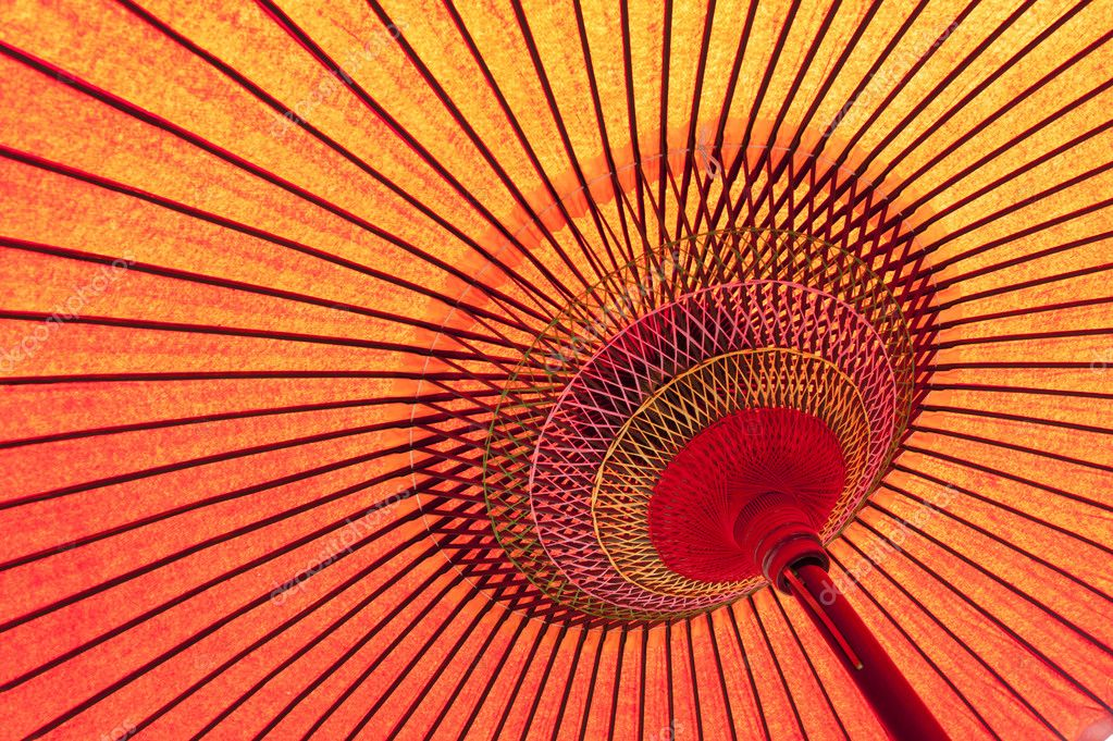 Detail of a traditional red japanese umbrella  — Stock Photo #6812157