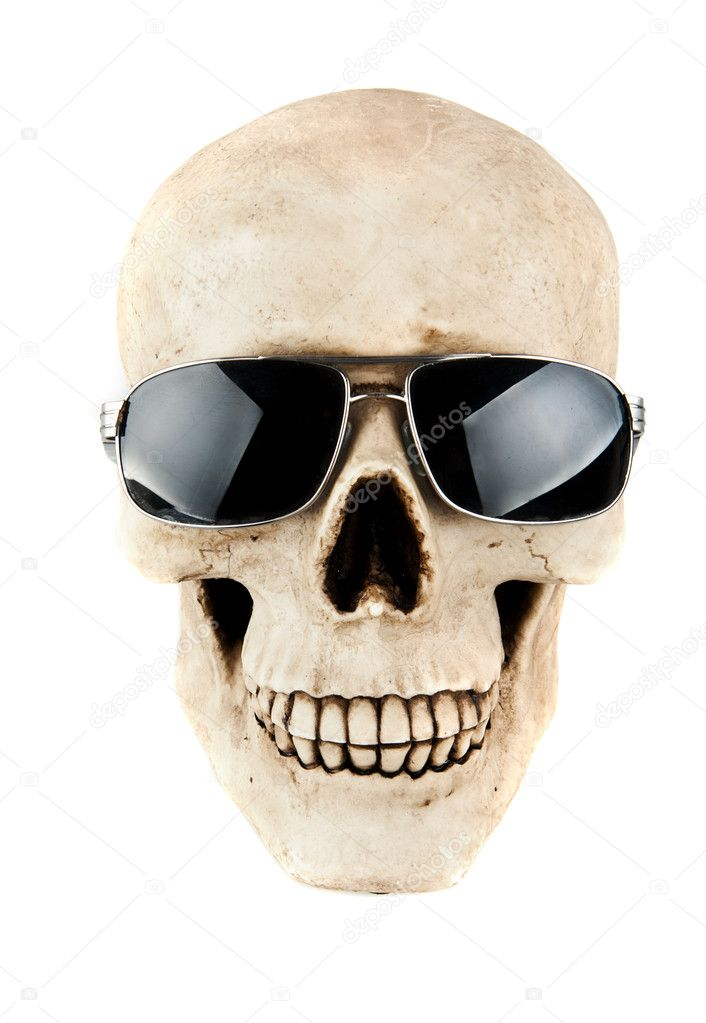 Human skull with black sun glasses isolated on a white background — Stock Photo #7714185