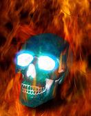 Magic skull in fire — Stock Photo