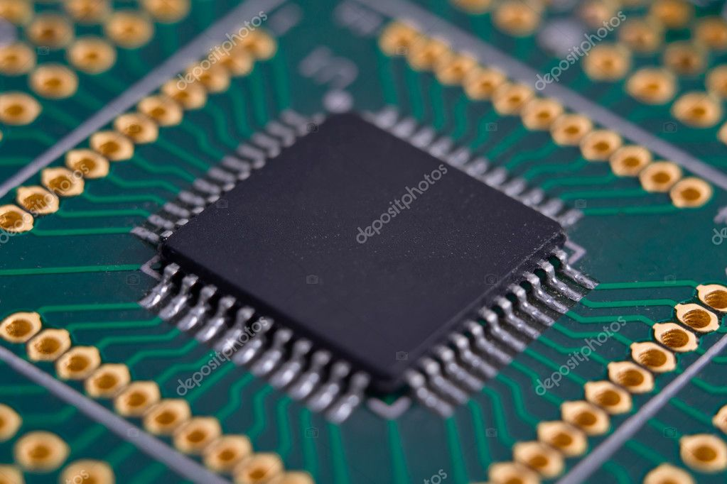 High-tech chip on the green circuit board — Stock Photo #6886124