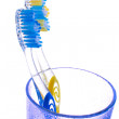 Toothbrush in a glass isolated — Stock Photo