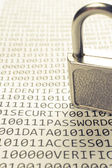 Padlock is on the list with a binary code — Foto Stock