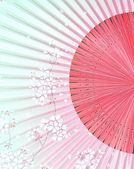 Sakura branches on the Japanese Fan — Stock Photo