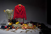 Still life with red jacket — Stock Photo
