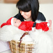 Santa baby; fur; newborn, New Year — Stock Photo