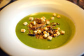 Delicious green soup, spinach, croutons — Stock Photo