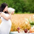 Cute pregnant girl drinks milk in a field — Stock Photo