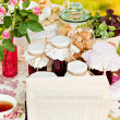 Appetizing true, jam, biscuits and tea — Stock Photo #7416552