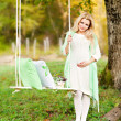 Cute pregnant girl and swing — Stock Photo