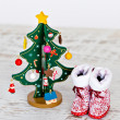 Christmas tree and Santa's boots — Stock Photo