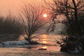 Západ slunce na zimní — Stock fotografie
