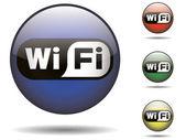 Wi-fi y negro redondeado insignia — Vector de stock