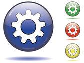 Botón configuración brillante — Vector de stock