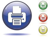 Botón impresora brillante — Vector de stock