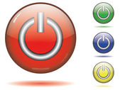 Glossy power-off button set — Stock Vector