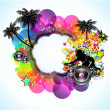 Tropical Music and Latin Disco Event Background for Flyers — Imagen vectorial