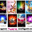 8 Quality Colorful Background for Discoteque Event Flyers with music design — Vettoriali Stock