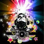 Fondo de disco volador música abstracta para eventos especiales de la noche — Vector de stock