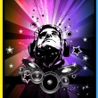 Music Event Background with Disk Jockey Shape for Discoteque Flyers — ストックベクター #6764738