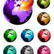 Rainbow Colours 3D Glossy earth sphere — Stock Vector