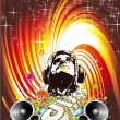 Disco Dance Event Background with Music Design Elements — Imagen vectorial