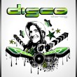 Music Event Background with Disk Jockey Shape for Discoteque Flyers — Imagen vectorial