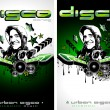 Music Event Background with Disk Jockey Shape for Discoteque Flyers — Image vectorielle
