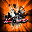 Music Event Background with Crazy DJ Shape for Disco Flyers — Stock Vector