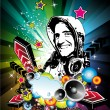 Music Event Background with Disk Jockey Shape for Discoteque Flyers — 图库矢量图片