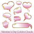 Valentine's Day Red and Gold Hearts and Clouds stickers — Stock Vector