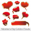 Stock Vector: Hearts and Clouds stickers