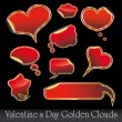 Royalty-Free Stock Vector Image: Hearts and Clouds stickers