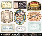 复古标签集合-设置 4 — 图库矢量图片