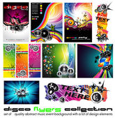 11 Abstract Music Background for Discoteque Flyer with a lot of desgin elem — Stock Vector
