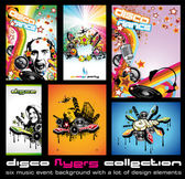 Set of 6 Quality Colorful Background for Discoteque Event Flyers with music — Stock Vector