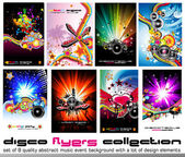 8 Quality Colorful Background for Discoteque Event Flyers with music design — Stok Vektör