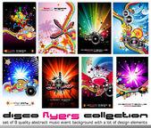 8 kvalitet färgstarka bakgrund för diskotek händelse flyers med musik design — Stockvektor