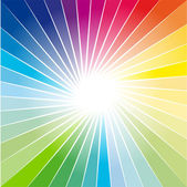 Rainbow Ray of lights explosion background — Stock Vector