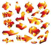 3D glossy gold orange arrow set — Stock Vector