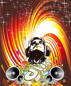 Disco Dance Event Background with Music Design Elements — Stock Vector
