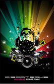 Colorful Burning Dj Background for Alternative Disco Flyers — Stock Vector