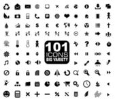 101 Icons Collection - General. Internet, Mulstimedia, Financial and more — Stock Vector
