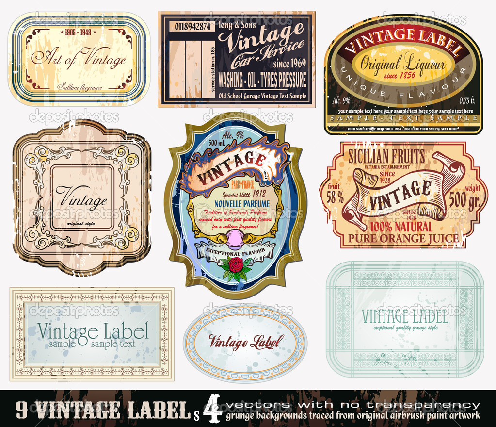 Vintage Labels Collection - 9 design elements with original antique style -Set 4 — Stock Vector #6763147
