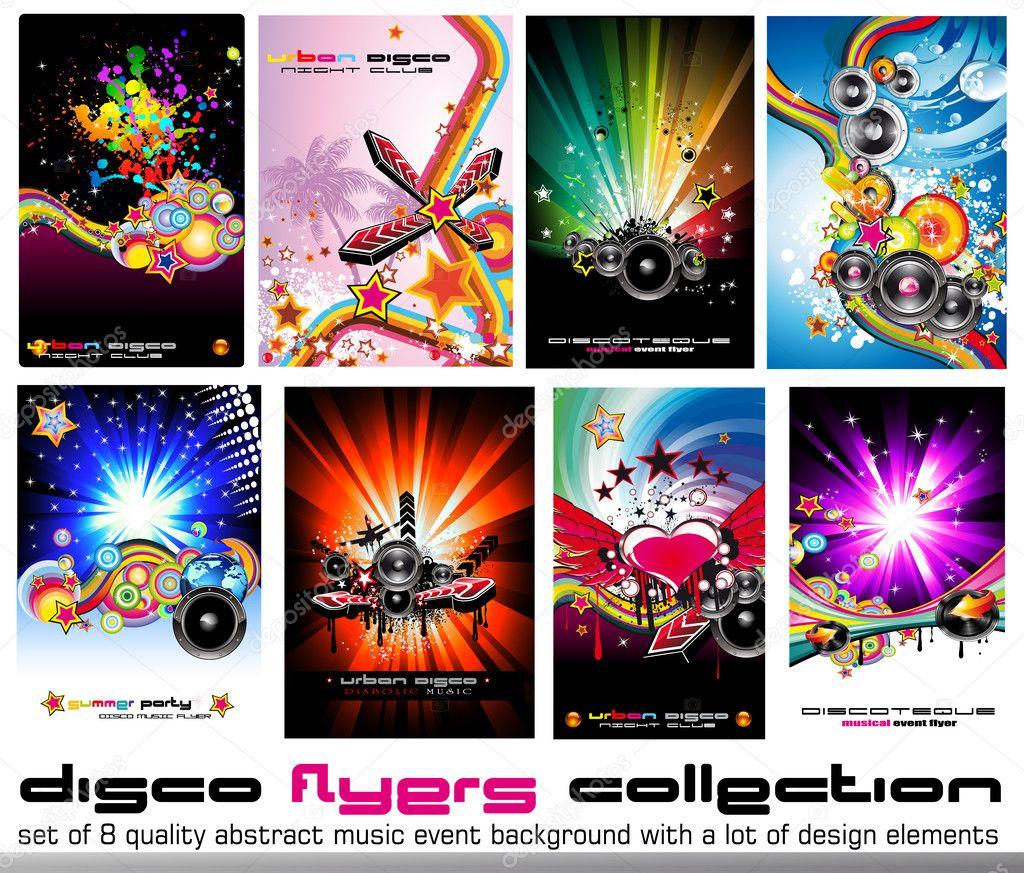 Set of 8 Quality Colorful Background for Discoteque Event Flyers with music design elements — Stock Vector #6763920