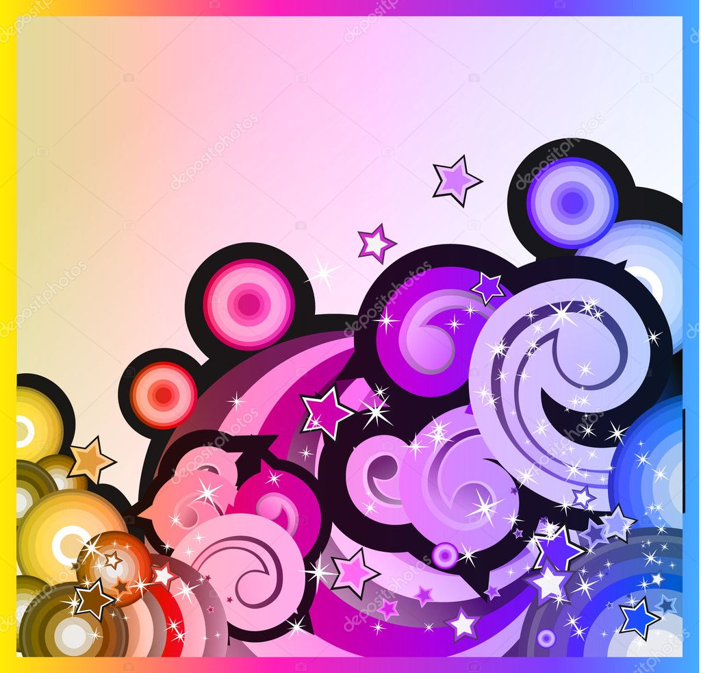 Abstract Fantasy Bubbles Background with Colorful Rainbow Effect  Stock Vector #6764664